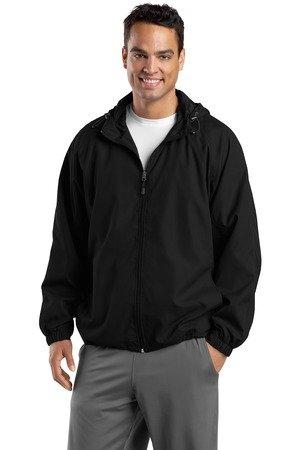 (Sport-Tek Hooded Raglan Jacket, Black, 4XL)