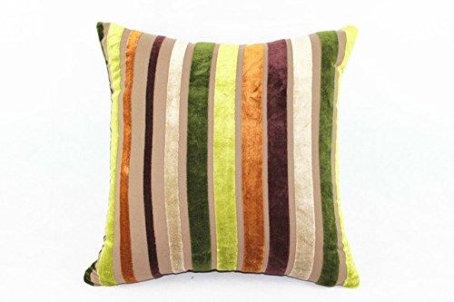 Striped Cushion Cover Decorative Pillow Cotton/Rayon Yarn Dyed Stripe Plain Velvet Cushion Cover