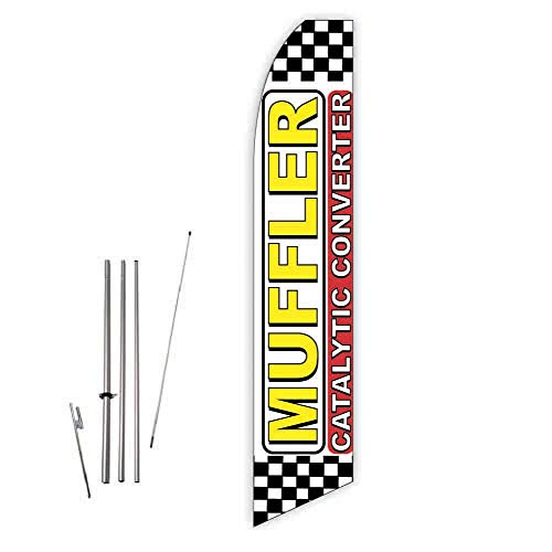 Emissions Catalytic Converter (Muffler Catalytic Converter (White/Red) Super Novo Feather Flag - Complete with 15ft Pole Set and Ground Spike)