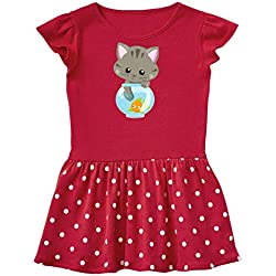 inktastic - Kitty and The Fish Bowl, Toddler Dress 4T Red with Polka Dots 35a84