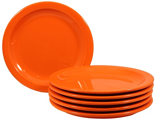 Wide Rimmed Dinner Plate (ITI Brighton Ceramic Dinner Plates with Pan Scraper, 6-Pack (7.25 Inch, Orange))