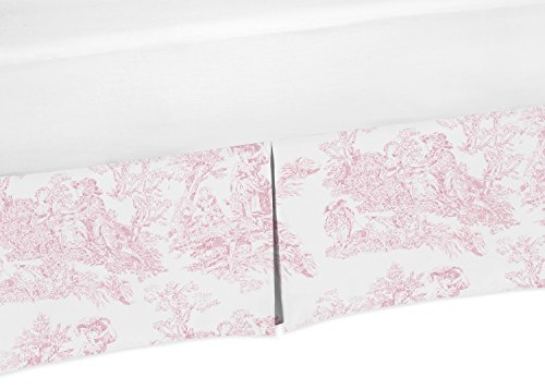 Toile Bedskirt (Toile Crib Bed Skirt Dust Ruffle for Girls French Pink and White Toile Collection Baby Bedding)