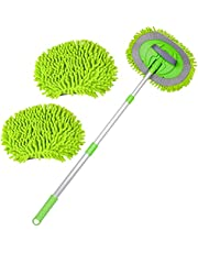 Mokani 2 in 1 Chenille Microfiber Car Wash Mop Mitt with Aluminum Alloy Long Handle, Adjustable Car Wash Scratch Free Cleaning Tool Dust Brush for Washing Truck, Car, RV
