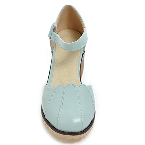 Eclimb Womens Round Toe Platform Shoes T-Strap Chunky Heel Pumps Blue WBdpFT