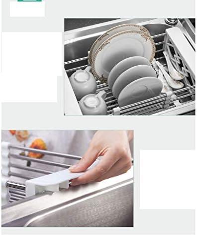 食器棚 395 * 230 * 110ミリメートルディッシュラックドレインバスケット、キッチンラック、ステンレス鋼、伸縮シンクラック、長方形、シンク、ホーム (Color : Drain basket)