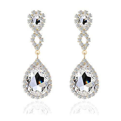 Miraculous Garden Womens Rhinestone Crystal Pierced Drop Earrings for Wedding Party-2 Tone Plated (Silver Plated White Crystal)