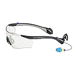 ReadyMax SoundShield Men\'s Sport Style, Black Frame, Indoor/Outdoor Anti-Fog, Scratch Resistant Safety Glasses w/Built in Hearing Protection