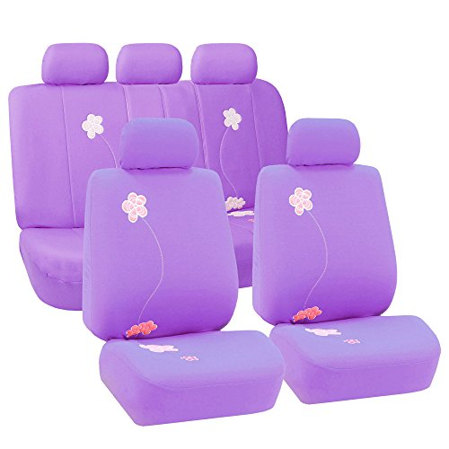 FH Group Universal Fit Full Set Floral Embroidery Design Car Seat Cover, (Purple) (FH-FB053115, Airbag Compatible and…