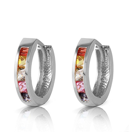 1.3 CTW 14k Solid White Gold Hoop Earrings with Natural Multi Color Sapphires