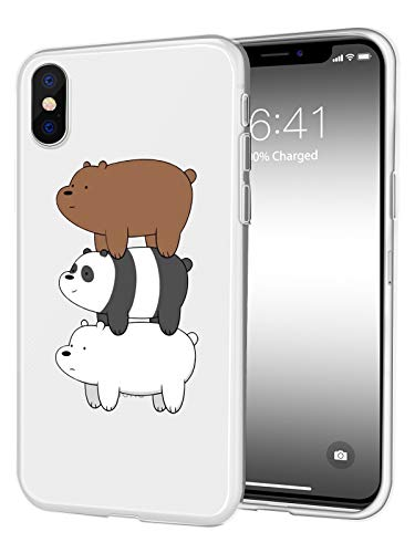 JOYLAND Transparent TPU Phone Case Cover Cartoon TV Bears Desgin Cell Phone Case Protective Shell Compatible for iPhone XR