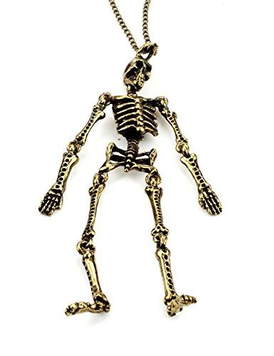 Fashion jewelry biker punk skeleton pendant necklace – men (Purple Skeleton)