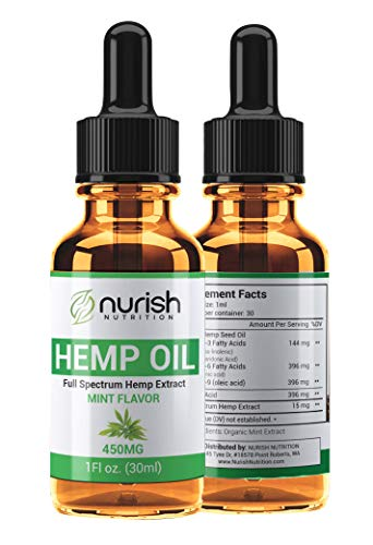 Nurish Nutrition - Ultimate Full Spectrum Hemp Extract 450mg - Best Hemp Oil For Pain Relief - Fast Results For Sleep, Stress and Anxiety - Perfect for Gym Goers, Yogi's, and Mom & Dad - 1oz (30ml)