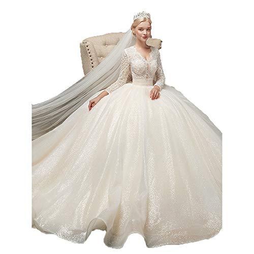 Women wedding dresses for brides Women Long Sleeve Beading Applique Mesh Tulle Sweep Train Bridal Gown Wedding Dress Long Tail Slim Luxury Bride Dress Pageant Prom Formal Dress women bridesmaid dresse