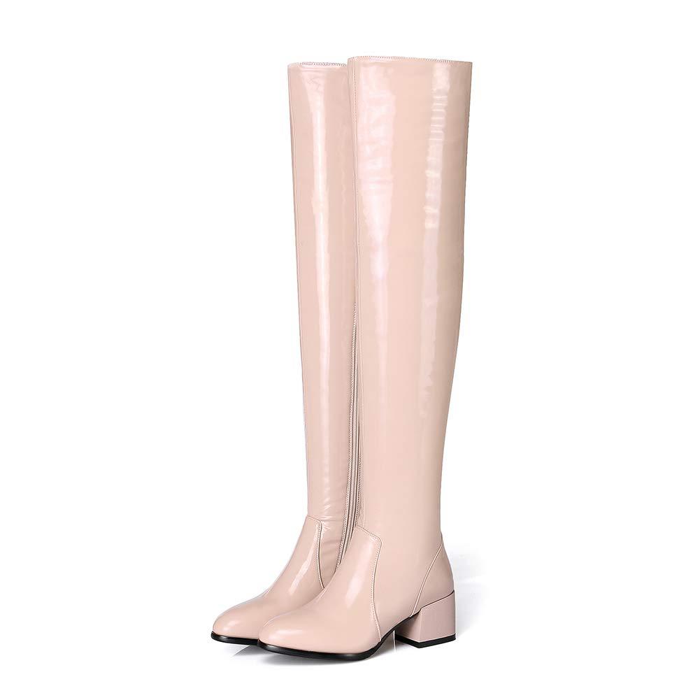Frauen Runder Kopf Dicker High Heel Kniestiefel Rutschfest Gemütlich Helles Leder Hoher Absatz Stiefel Freizeit Mode Hohe Stiefel (Absatzhöhe  5Cm) WHL.LL