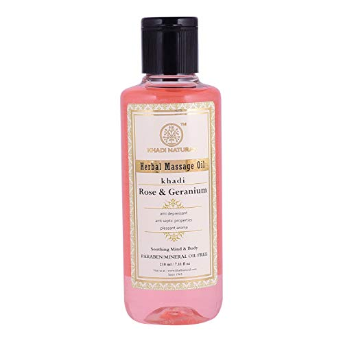 Khadi Natural Herbal Ayurvedic Rose and Geranium Body Massage Oil (210 ml)