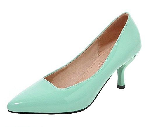 Trendy Pointy Toe Low Cut Dress Slip On Stiletto Kitten Heels Pumps Party Wedding Shoes (Green, 6 B(M) US) ()