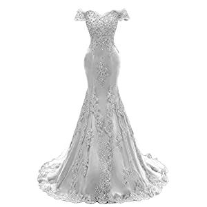 a40b60e731 Himoda Women s V Neckline Beaded Evening Gowns Mermaid Lace Prom Dresses  Long H074 18W Silver