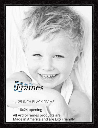 ArtToFrames 18x24 inch Black Stain on Maple Wood Picture Frame, WOM0066-80209-YBLK-18x24