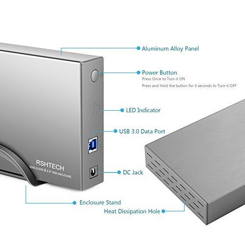 RSHTECH Hard Drive Enclosure USB 3.0 to External Aluminum Case/ Hard Drive Docking Station for 2.5inch/ 3.5inch SATA I/II/III /HDD or SSD Support UASP & 8TB Drives (Silver) by RSHTECH (Image #4)