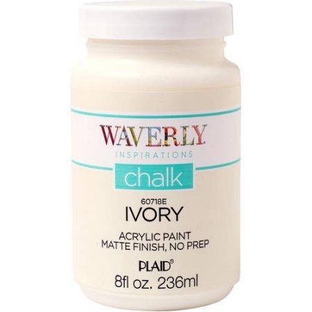 Waverly Inspirations Matte Chalk Finish Acrylic Paint by Plaid, Ivory, 8 (Ivory Chalk)