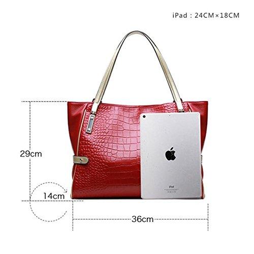 sacs sac en en à main Rouge à bureau Crocodile de sac cuir main véritable SANSJI relief C1z7awW