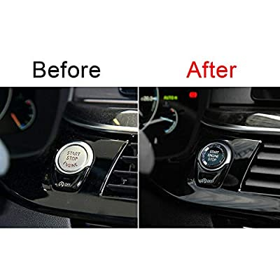 Xotic Tech Crystal Start Stop Button Cover Trim Engine Ignition Switch Replacement Cap for BMW 1 2 3 4 5 7 Series X1 X3 X5, Black: Automotive