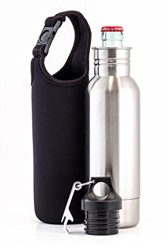 Stainless Steel Beer Bottle Holder w/Carrying Case and Bottle Opener. (including quality check McVaze sticker) Review