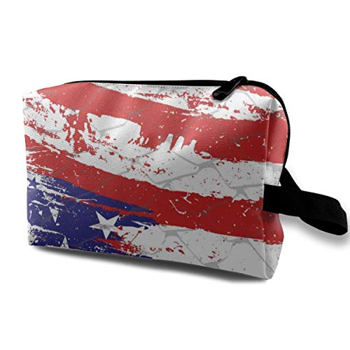 (FIRECACA Paint America FlagToiletry Bag Multifunction Cosmetic Bag Portable Makeup Pouch Waterproof Travel Hanging Organizer Bag for Women/Girls Travel/Shopping/Hiking Makeup Bag)