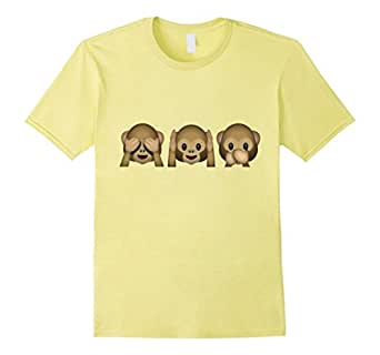 Men's Emoji Shirt Cute Funny Monkeys 3XL Lemon