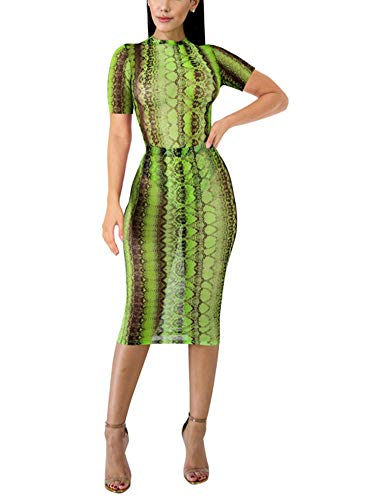 (ThusFar Short Sleeve Mesh Sheer Leopard Printed Bodycon Bodysuit Cover ups Green M)