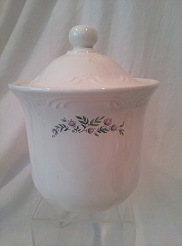 "Pfaltzgraff MEADOW LANE Tea Canister with Violet Wildflowers, Pfaltzgraff Meadow Lane Jar with Lid 7"" d x 8-1/2"" h"