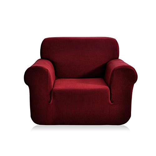 CHUN YI 1-Piece Jacquard High Stretch Armchair Cover, Polyester and Spandex 1 Seater Cushion Sofa Slipcover Coat, Furniture Protector for Couch and Sofa (Wine) (Red Settee Leather)