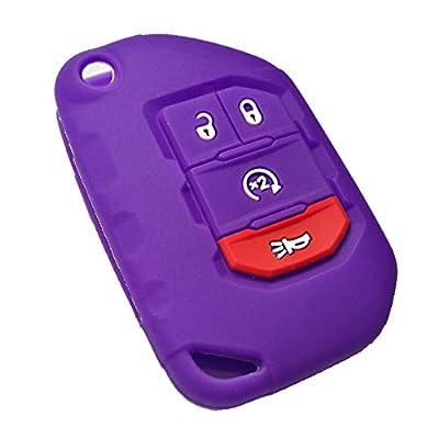 Qty(2) Alegender Black Purple Slilicone 4-Buttons Flip Key Fob Cover Case Holder Remote Bag Protector Fit for 2020 2020 2020 Wrangler JL Gladiator JT 68292944AA: Automotive
