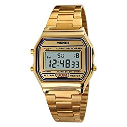 Women's Classic Simple Petite Electronic Quartz Watch Stainless Steel Square Slim Led Watch Digital Watch (Gold- 1123)