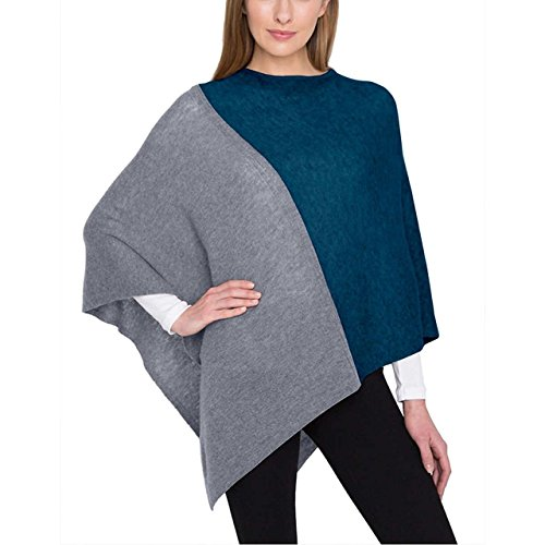 - Celeste Ladies' Colorblock Cashmere Blend Travel Wrap Poncho (Grey, One Size)