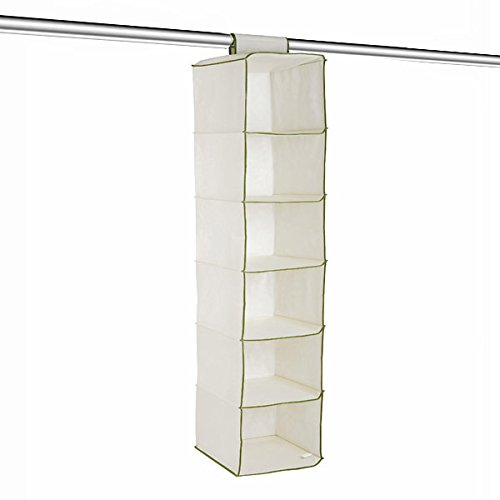 Clothes Organiser - 6 Pocket - Light Cream Displaysense