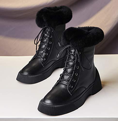 Mujer Motero Estilo Botines Zapatos Negro Tacon Botas Annieshoe Forradas Warm Plataforma Cordones Fashion S5fgqwtxn