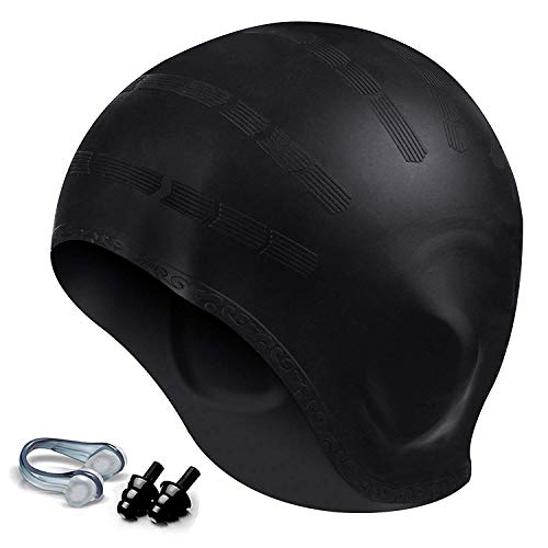 Hurdilen Swim Cap, Premium Silicone Swimming Cap with Earplugs & Nose Clips,3D Ergonomic Design Ear Pockets,Flexible Reversible for Adults Women Men (Black)