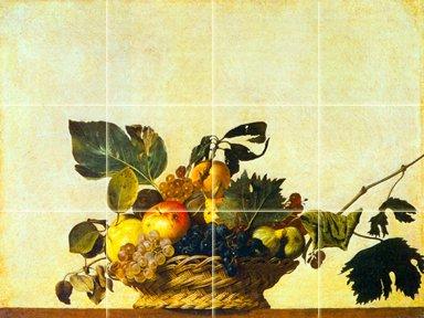 FlekmanArt Basket of Fruits by da Caravaggio Michelangelo Merisi - Art Ceramic Tile Mural 24