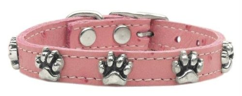 Mirage Pet Products Faux Ostrich Paw Leather Pink Dog Collar, 10""