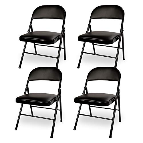 Black Steel Chair Folding - VECELO 4-Pack Metal Steel Folding Chair with PU Padded Seats Black