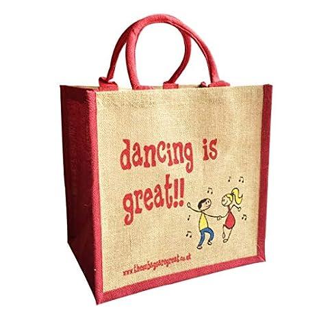 Bailar es gran reutilizable bolsa de la compra de yute de ...