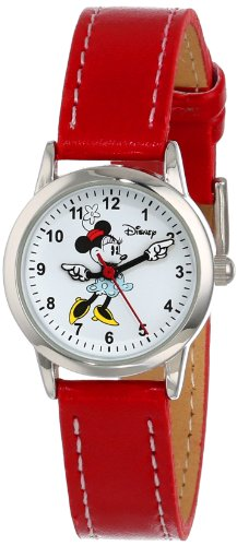 (Disney Women's MN1023 Minnie Mouse White Dial Red Strap Watch )