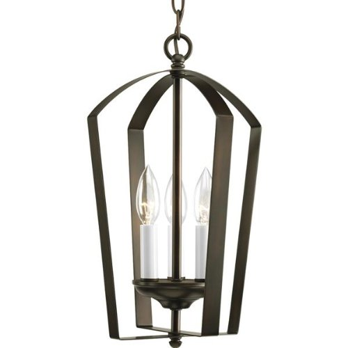 Progress Lighting P3928-20 Antique Bronze Gather Three-Light Candelabra Foyer Pendant with Flat Metal Cage and Candle Covers GatherCollection (Cage Metal Flat)