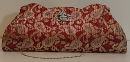 Indian Handbag - Beautiful Gold Zari Embroidered Red for sale  Delivered anywhere in USA