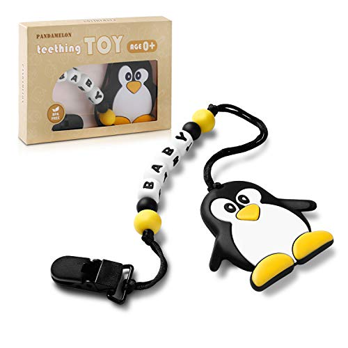 Pandamelon Baby Teething Toys BPA Free   Silicone Teether with Pacifier Clip Holder, Silicone Teething Beads Set for Newborn Babies, Penguin Teether, for Boys and Girls (Letter)