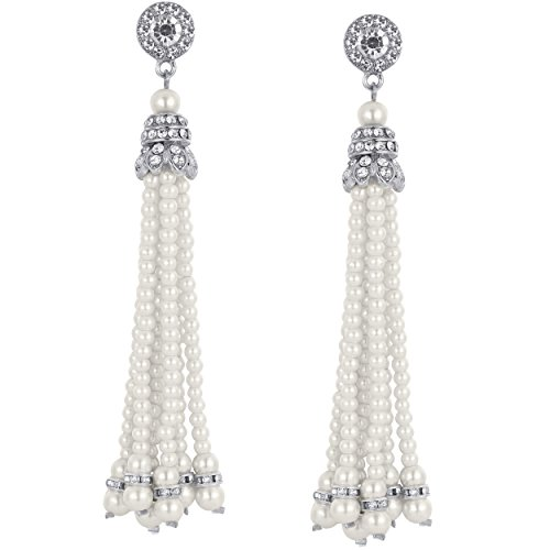 BABEYOND 1920s Flapper Imitation Pearl Earrings 20s Great Gatsby Pearl Tassel Earrings Vintage Flapper Gatsby Costume Accessories (Silver)