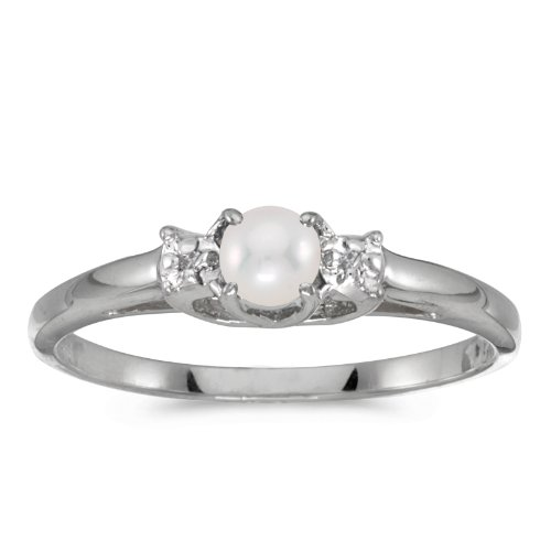 0.01 Carat (ctw) 10k White Gold Round Freshwater-Cultured Pearl and Diamond Bypass Halo Engagement Anniversary Fashion Ring (4 MM) - Size 4.5