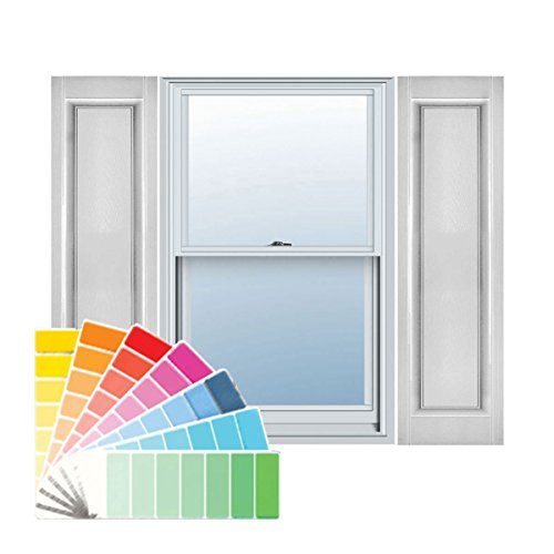 Paintable Raised Panel (Ekena Millwork LP1C12X04200PG Lifetime Vinyl, Custom Single Panel, Raised Panel Shutters, w/ Shutter-Loks (Per Pair), 12