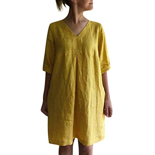 Yaseking V-Neck Dress for Women, Short Sleeve Solid Color Cotton Linen Casual Loose Beach Dresses with Pocket (XXL, Yellow)